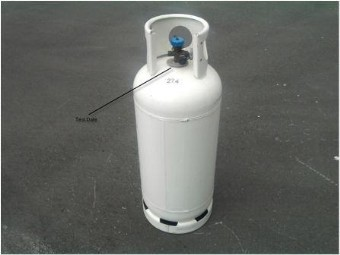 Picture of an LPG Cylinder with the location of the test date marked